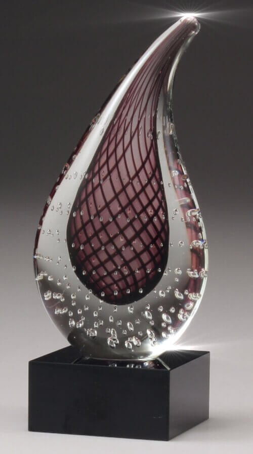 Artglass trophy – red teardrop