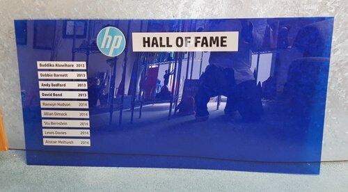 Blue honours board