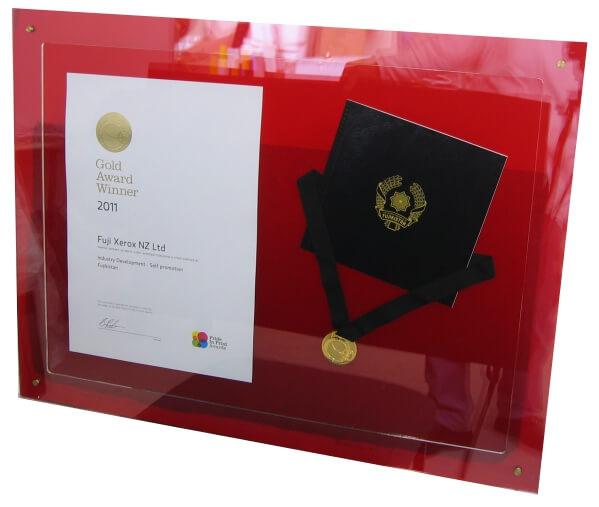 Custom red plaque