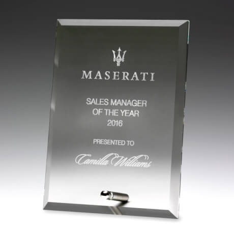 Clear glass plaque trophy