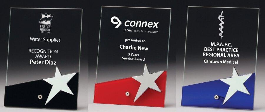 Glass award with star