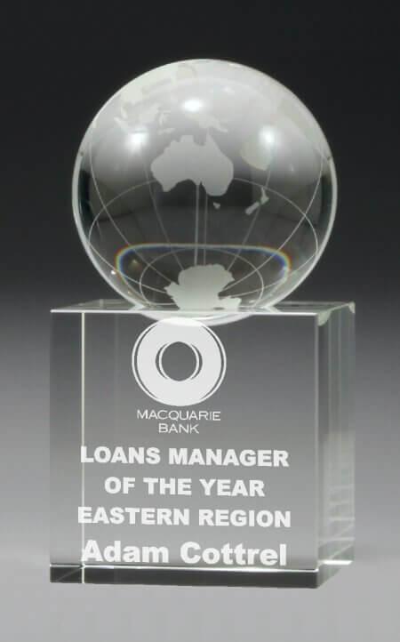 Crystal globe trophy