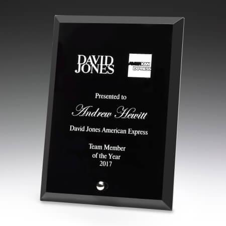 Black glass plaque award