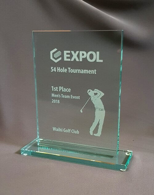 Glass engraved trophy